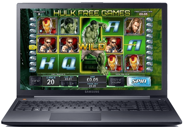 Hulk slot loaded on a laptop pc