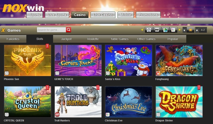 Noxwin casino games section